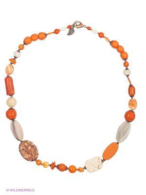 Колье Роман с камнем. Цвет: оранжевый