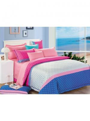 Комплект постельного белья ROMEO AND JULIET. Цвет: синий, белый, розовый