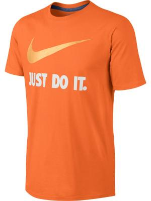 Футболка M NSW TEE JDI SWOOSH NEW Nike. Цвет: оранжевый, белый