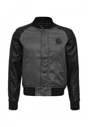 Куртка кожаная Fresh Brand. Цвет: серый