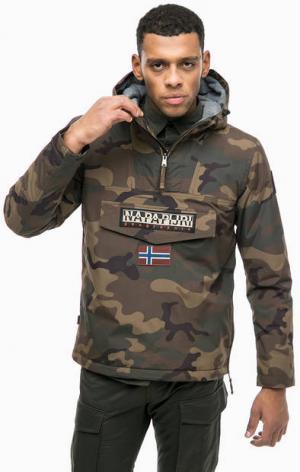 Куртка-анорак с камуфляжным принтом Napapijri. Цвет: хаки