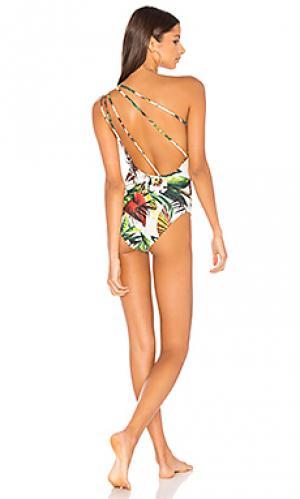 Слитный купальник с открытым плечом Lenny Niemeyer. Цвет: зеленый