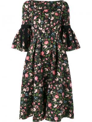 Платье с цветочным принтом Aleena Erdem. Цвет: чёрный
