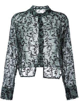 Прозрачная рубашка с вышивкой лиц Eckhaus Latta. Цвет: зелёный