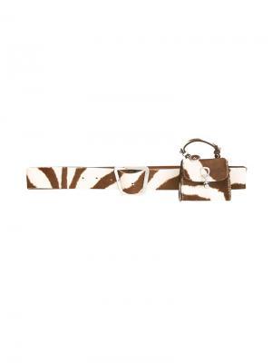 Zebra-effect pocket belt Ermanno Scervino. Цвет: коричневый