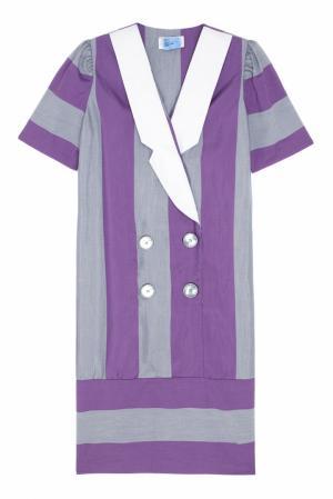 Платье винтажное (80е) Leslie Fey. Цвет: серый, фиолетовый