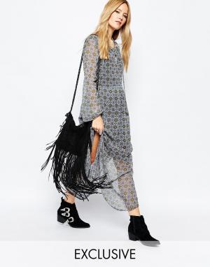 Spiritual Hippie Платье макси с геометрическим принтом и длинными рукавами Spritual Hip. Цвет: синий