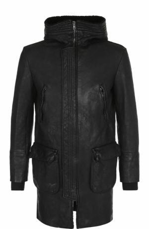 Кожаное пальто на молнии с капюшоном Salvatore Santoro. Цвет: черный