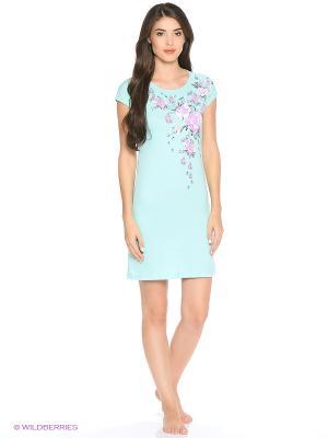 Сорочка ночная женская MARSOFINA. Цвет: бирюзовый