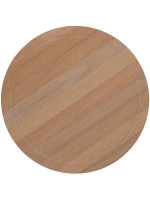 Доска разделочная круглая диаметр 240 мм бук 12 PROFFI. Цвет: бежевый