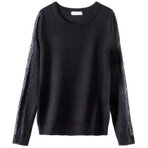 Пуловер из вискозы с кружевом на рукавах La Redoute Collections. Цвет: серый меланж,фиолетовый,черный