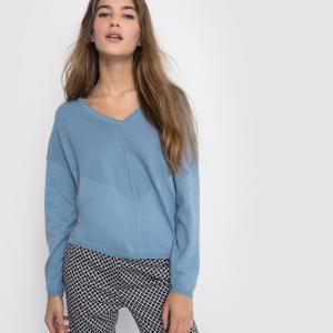 Пуловер из тонкого трикотажа с V-образным вырезом La Redoute Collections. Цвет: красно-коричневый,небесно-голубой,серый меланж,фиолетовый,черный