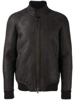 Куртка-бомбер с высоким горлом Salvatore Santoro. Цвет: коричневый