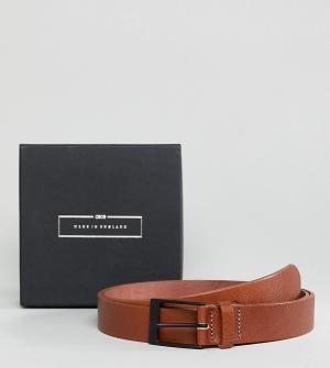 ASOS Изготовленный в Англии светло-коричневый узкий кожаный ремень PLU. Цвет: рыжий