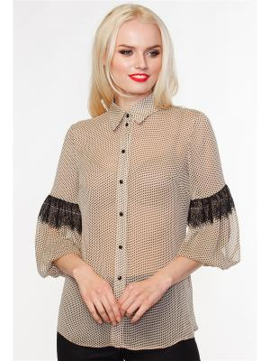 Блуза VICTORIA VEISBRUT. Цвет: бежевый, черный