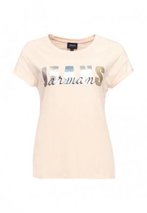 Футболка Armani Jeans. Цвет: розовый