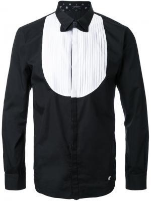 Рубашка с плиссированным нагрудником Loveless. Цвет: чёрный