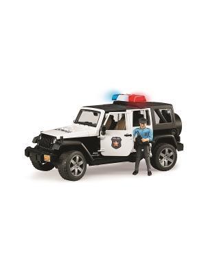 Внедорожник Jeep Wrangler Unlimited Rubicon Полиция с фигуркой Bruder. Цвет: черный