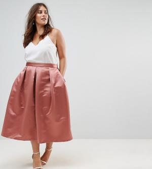 Closet London Plus Пышная сатиновая юбка миди для выпускного. Цвет: оранжевый