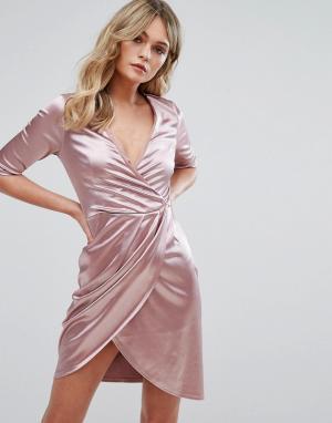 Club L Атласное платье с запахом. Цвет: розовый