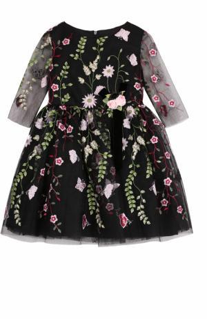 Мини-платье с цветочной вышивкой и декором David Charles. Цвет: черный