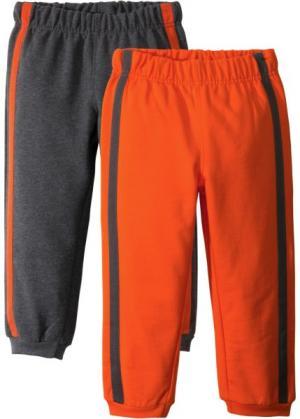 Трикотажные брюки (2 шт.) (антрацитовый меланж/темно-оранжевый) bonprix. Цвет: антрацитовый меланж/темно-оранжевый