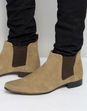 ASOS Замшевые ботинки Chelsea. Цвет: светло-серый