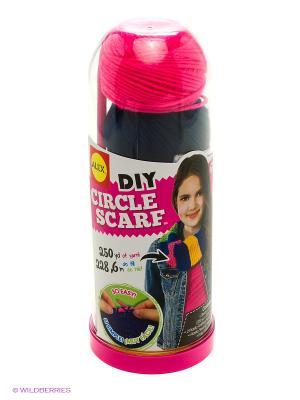 Набор для вязания спицами Круговой шарф, от 8 лет Alex. Цвет: красный, синий