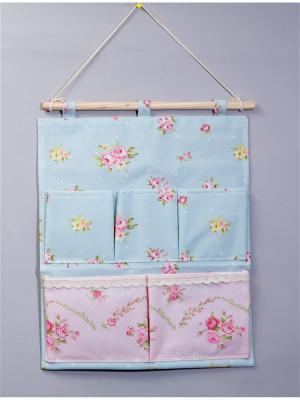 Органайзер с 5 карманнами настенный Русские подарки. Цвет: голубой, розовый