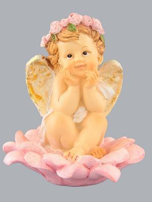 Фигурка  Ангелочек мечтающий Elan Gallery. Цвет: бежевый, розовый