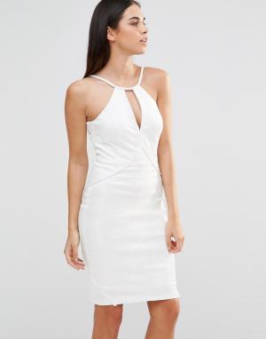 Forever Unique Облегающее платье на бретельках со змеиным узором. Цвет: кремовый