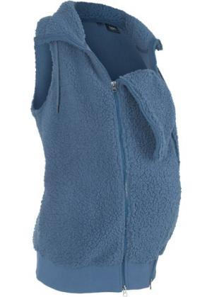 Флисовая жилетка для беременных с карманом малыша (индиго) bonprix. Цвет: индиго