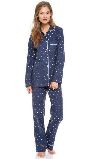 Пижама Jamie Three J NYC. Цвет: темно-синий в белый горошек/белый кант