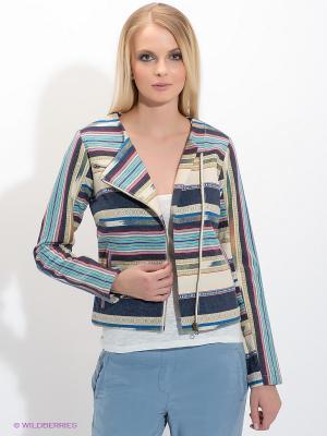 Жакет American Outfitters. Цвет: темно-синий, бирюзовый, молочный