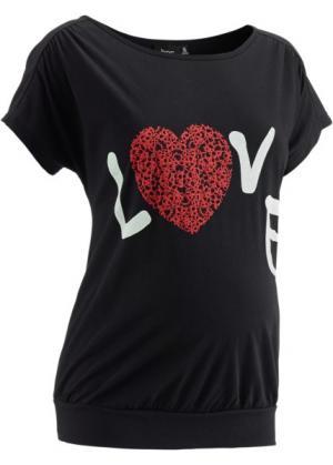 Мода для беременных: футболка с принтом сердечка (черный) bonprix. Цвет: черный