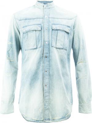 Классическая джинсовая рубашка Balmain. Цвет: синий