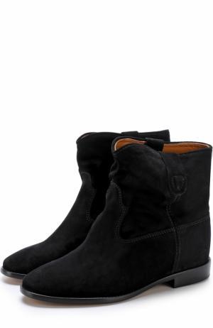 Замшевые ботинки с широким голенищем Isabel Marant. Цвет: черный