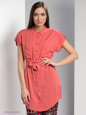 Рубашка Vero moda. Цвет: коралловый