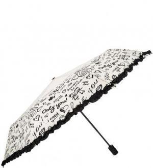 Автоматический зонт с отделкой рюшами FLIORAJ. Цвет: молочный