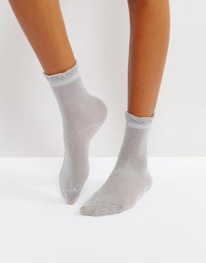 Monki Носки с блестками. Цвет: серебряный