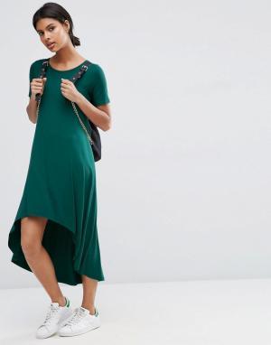 ASOS Платье-футболка с заниженной кромкой. Цвет: зеленый