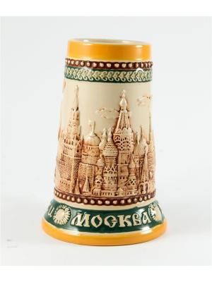 Пивная кружка коллекционная Москва BURGER. Цвет: коричневый, оранжевый, темно-бежевый