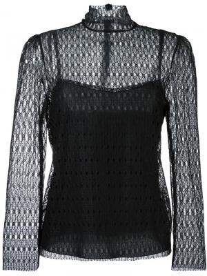 Кружевная блузка с высокой горловиной Philosophy Di Lorenzo Serafini. Цвет: чёрный