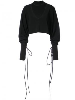 Укороченная рубашка с вырезной деталью Solace London. Цвет: чёрный