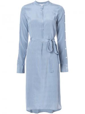 Платье-рубашка в полоску с поясом Robert Rodriguez. Цвет: синий