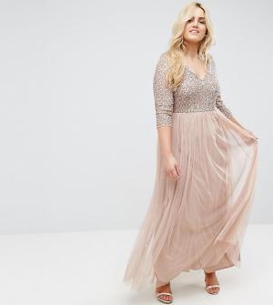 Maya Plus Платье макси с рукавами длиной 3/4 и юбкой из тюля. Цвет: розовый