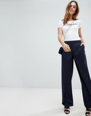 Morgan Широкие брюки в полоску. Цвет: темно-синий