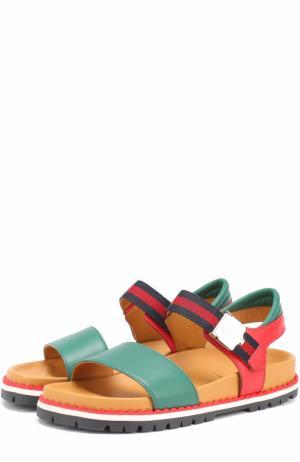 Комбинированные сандалии с ремешком Gucci. Цвет: зеленый