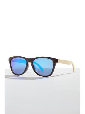 Бамбуковые очки Кюрасао Nothing but Love. Цвет: темно-коричневый, голубой, светло-желтый