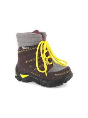 Ботинки Bartek. Цвет: бордовый, желтый, серый